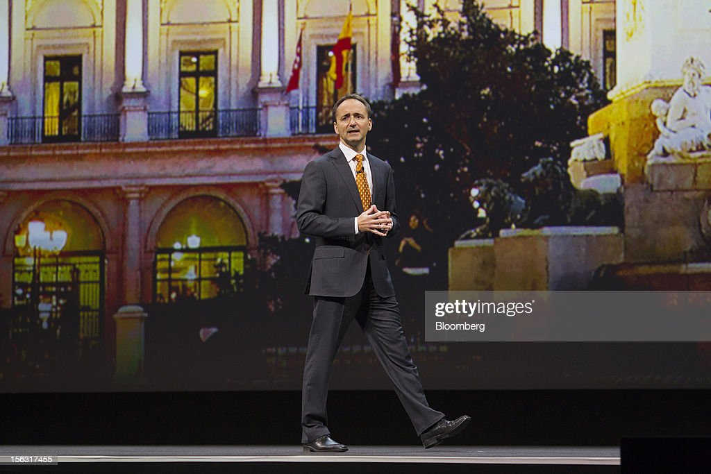 Jim Hagemann Snabe, co-chief executive officer of SAP AG, walks the stage while making a keynote speech on the opening day of the Sapphire Now conference in Madrid, Spain, on Tuesday, Nov. 13, 2012. SAP plans to deliver 6 SAP mobile apps for Windows 8. Photographer: Angel Navarrete/Bloomberg via Getty Images