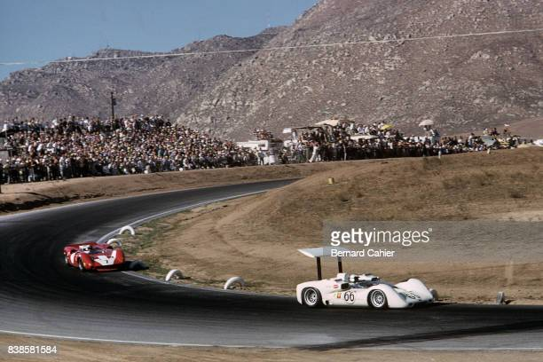 Jim Hall John Surtees ChaparralChevrolet 2E LolaChevrolet T70 Mk2 Los Angeles Times Grand Prix CanAm Riverside 30 October 1966