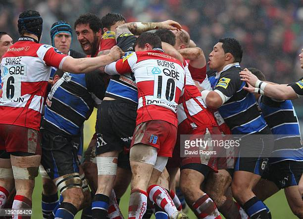 Jim Hamilton of Gloucester seen in the centre of a fight during the Aviva Premiership match between Bath and Gloucester at the Recreation Ground on...