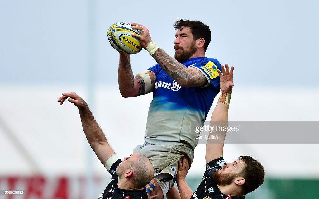 Jim Hamilton of Saracens claims the line out ball ahead of Lewis Stevenson of Exeter Chiefs and Luke Cowan-Dickie of Exeter Chiefs during the Aviva Premiership match between Exeter Chiefs and Saracens at Sandy Park on February 7, 2016 in Exeter, England.