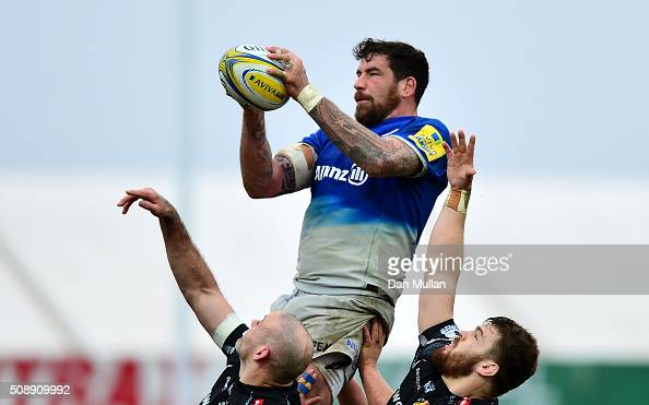 Jim Hamilton of Saracens claims the line out ball ahead of Lewis Stevenson of Exeter Chiefs and Luke CowanDickie of Exeter Chiefs during the Aviva...