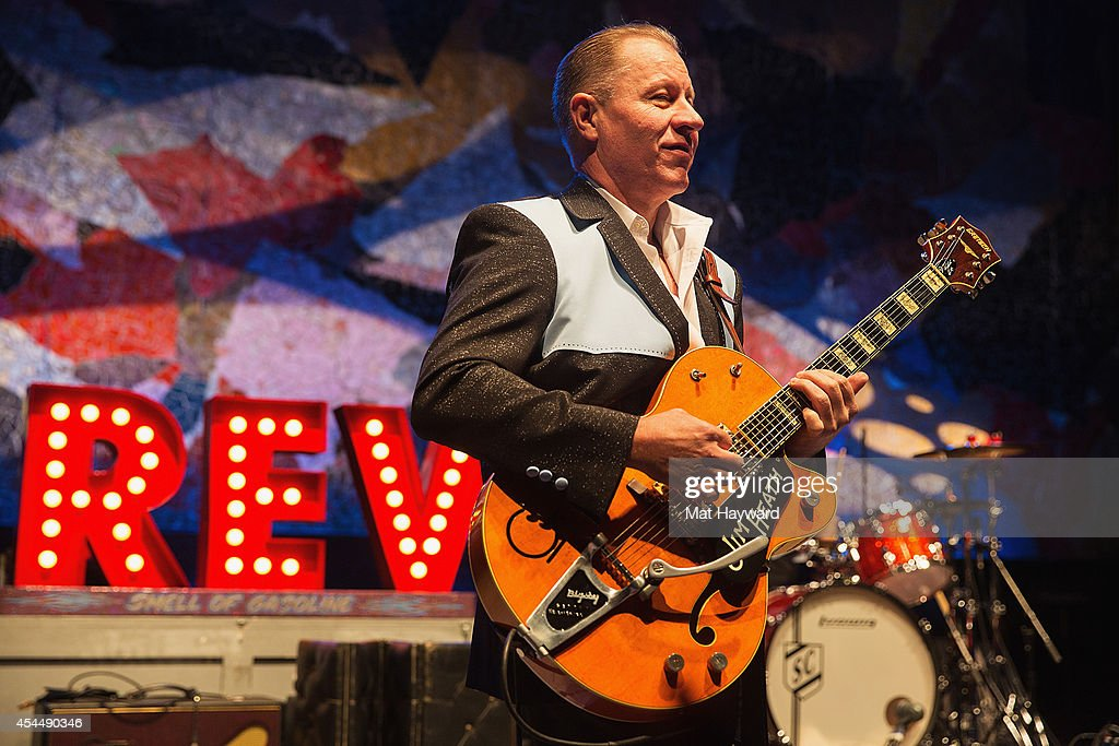 Jim Heath aka <a gi-track='captionPersonalityLinkClicked' href=/galleries/search?phrase=Reverend+Horton+Heat&family=editorial&specificpeople=4352586 ng-click='$event.stopPropagation()'>Reverend Horton Heat</a> performs on stage on day 3 of the Bumbershoot Music and Arts Festival at Seattle Center on September 1, 2014 in Seattle, Washington.