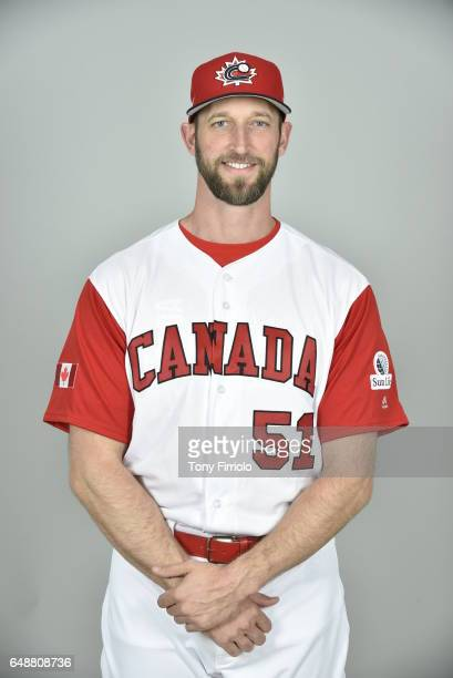 Jim Henderson of Team Canada poses for a headshot for Pool C of the 2017 World Baseball Classic on Monday March 6 2017 at Bobby Mattick Training...
