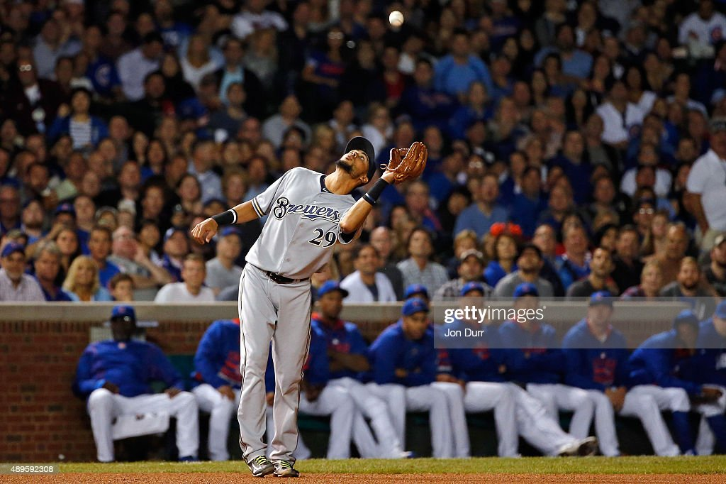 Jim Henderson #29 of the Milwaukee Brewers makes a catch for an out against the Chicago Cubs during the seventh inning at Wrigley Field on September 22, 2015 in Chicago, Illinois. The Chicago Cubs won 4-0.