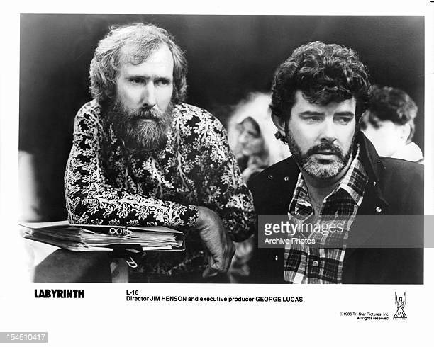 Jim Henson and George Lucas in publicity portrait for the film 'Labyrinth' 1986
