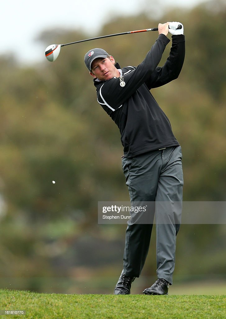 Jim Herman hits his tee shot on the second hole during the second round of the Farmers Insurance Open on the South Course at Torrey Pines Golf Course on January 25, 2013 in La Jolla, California.
