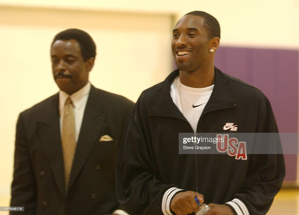 Jim Hill and Kobe Bryant during Kobe Bryant Announces Seven Year 137 Million Dollar Contract ReSigning with the Los Angeles Lakers July 15 2004 at...