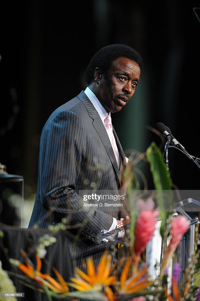 Jim Hill speaks during the memorial service for Los Angeles Lakers Owner Dr. Jerry Buss at Nokia Theatre LA LIVE on February 21, 2013 in Los Angeles, California.