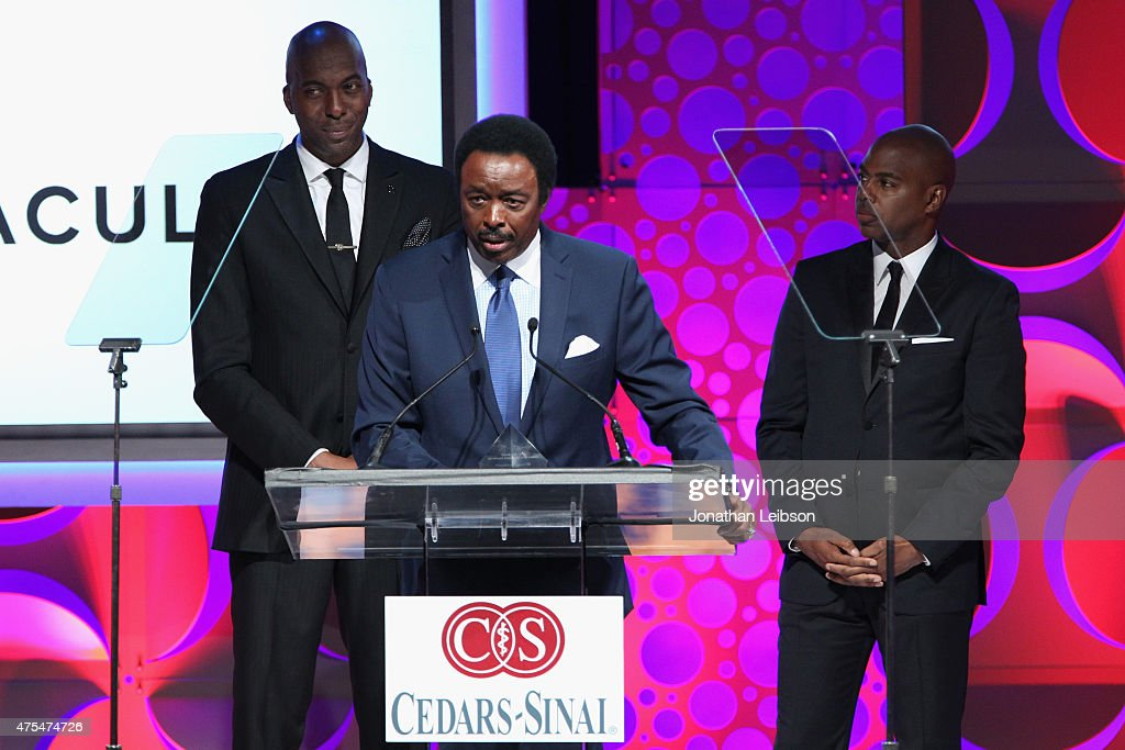 Jim Hill speaks onstage at the 2015 CedarsSinai Sports Spectacular at the Hyatt Regency Century Plaza on May 31 2015 in Century City California