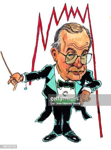 Jim Hummel color illustration of Federal Reserve chairman Alan Greenspan in a tux and waving a conductor's wand at a business fever line