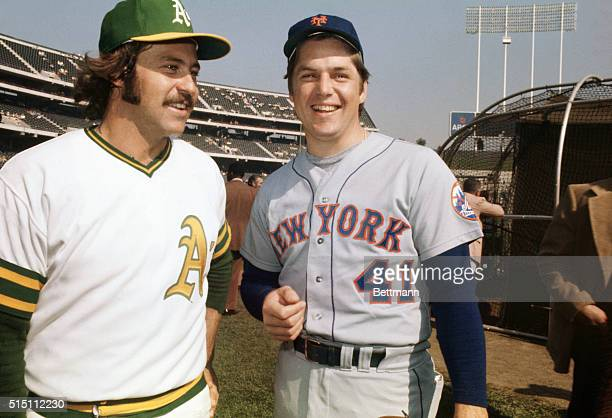 Jim Hunter of the Oakland A's and Tom Seaver of the NY Mets pose together before a game in the 1973 World Series
