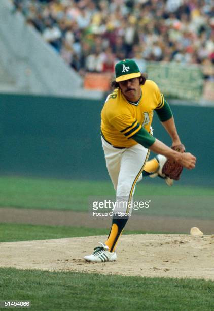 Jim Hunter of the Oakland Athletics pitches against the Cincinnati Reds during the World Series at OaklandAlameda County Coliseum in Oakland...