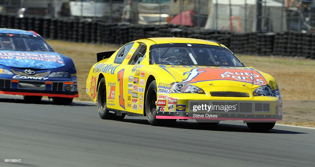 Jim Inglebright heads out of turn 7 during the NASCAR Camping World Series West BI-MART Salute to the Troops 125 at Portland International Raceway on July 19, 2009 in Portland, Oregon. Inglebright won the race.