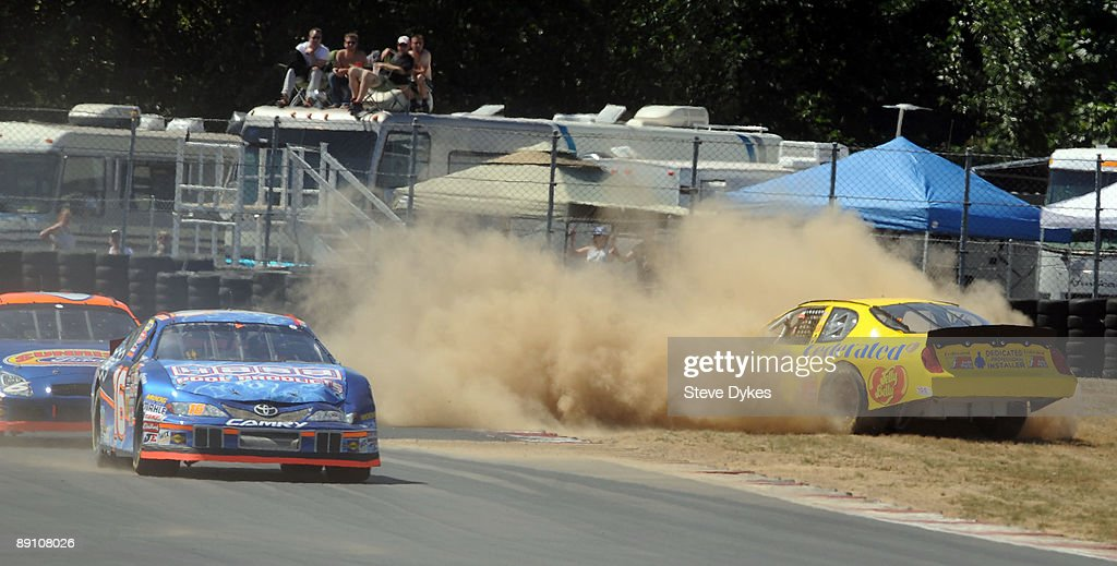 Jim Inglebright spins out into the grass on turn 7 during the NASCAR Camping World Series West BI-MART Salute to the Troops 125 at Portland International Raceway on July 19, 2009 in Portland, Oregon. Inglebright won the race.