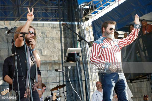 Jim James and Nick Offerman perform 'Masters of War' during the 2017 Newport Folk Festival at Fort Adams State Park on July 30 2017 in Newport Rhode...
