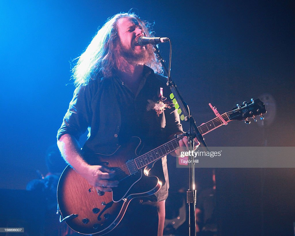 Jim James of My Morning Jacket performs during On the Beach: A Sandy Relief Concert at Paramount Theater on January 2, 2013 in Asbury Park, New Jersey.