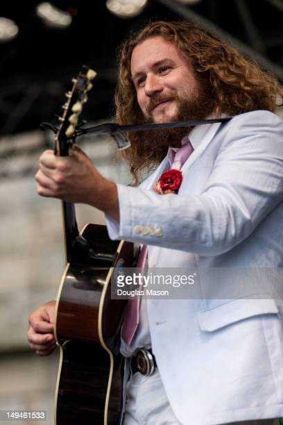 Jim James of My Morning Jacket performs during the 2012 Newport Folk Festival at Fort Adams State Park on July 28 2012 in Newport Rhode Island
