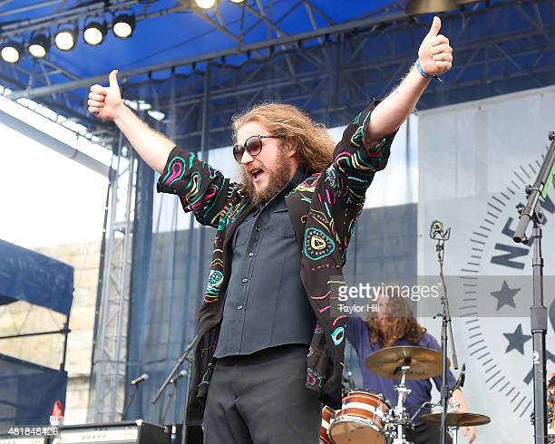 Jim James of My Morning Jacket performs during the 2015 Newport Folk Festival at Fort Adams State Park on July 24 2015 in Newport Rhode Island