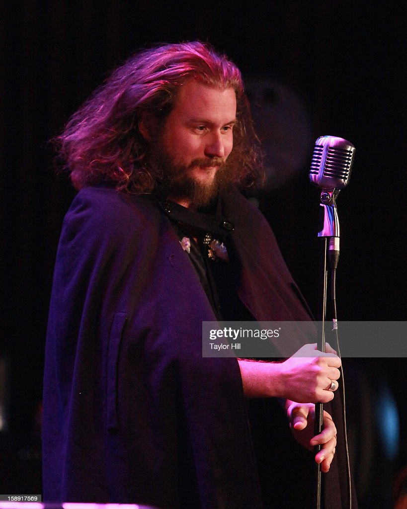 <a gi-track='captionPersonalityLinkClicked' href=/galleries/search?phrase=Jim+James&family=editorial&specificpeople=563700 ng-click='$event.stopPropagation()'>Jim James</a> of My Morning Jacket performs with Preservation Hall Jazz Band during On the Beach: A Sandy Relief Concert at Paramount Theater on January 2, 2013 in Asbury Park, New Jersey.