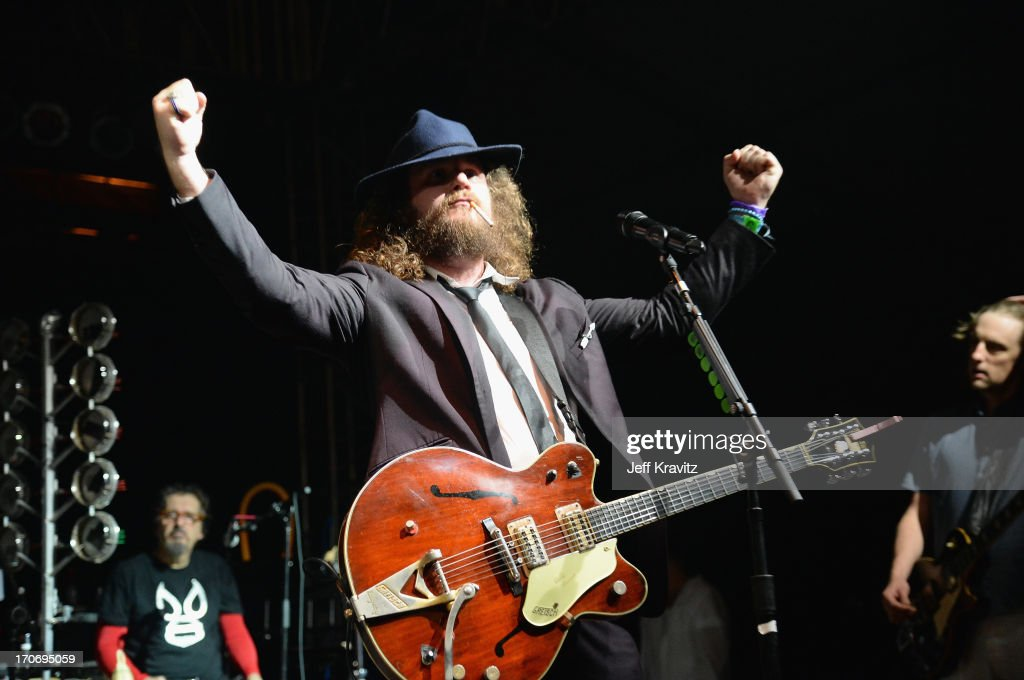 <a gi-track='captionPersonalityLinkClicked' href=/galleries/search?phrase=Jim+James&family=editorial&specificpeople=563700 ng-click='$event.stopPropagation()'>Jim James</a> performs onstage at Rock n' Soul Dance Party Superjam at This Tent during day 3 of the 2013 Bonnaroo Music & Arts Festival on June 15, 2013 in Manchester, Tennessee.