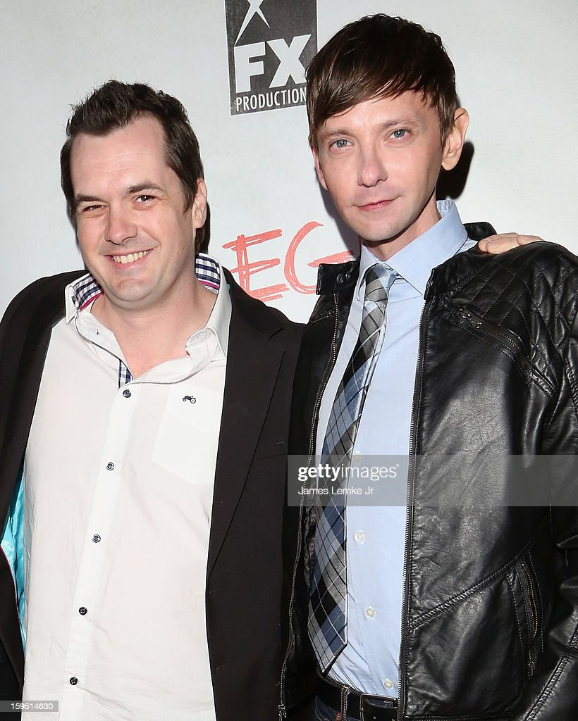 Jim Jefferies and DJ Qualls attend the FX's New Comedy Series 'Legit' Premiere Screening held at the Fox Studio Lot on January 14, 2013 in Century City, California.