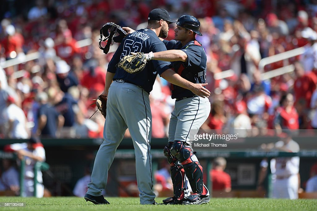 Jim Johnson #53 and Anthony Recker #20 of the Atlanta Braves celebrate after defeating the St. Louis Cardinals 6-3 at Busch Stadium on August 7, 2016 in St. Louis, Missouri.