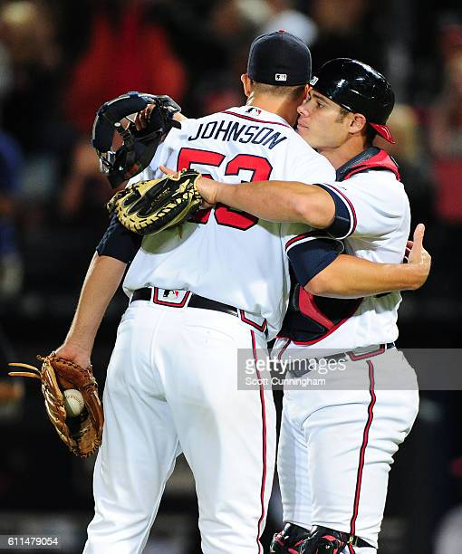 Jim Johnson and Anthony Recker of the Atlanta Braves celebrate after the game against the Philadelphia Phillies at Turner Field on September 29 2016...