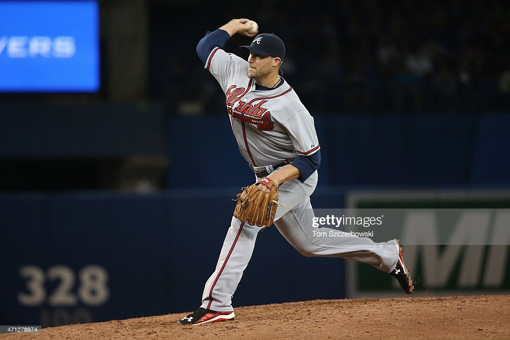 Jim Johnson #53 of the Atlanta Braves delivers a pitch in the eighth inning during MLB game action against the Toronto Blue Jays on April 18, 2015 at Rogers Centre in Toronto, Ontario, Canada.