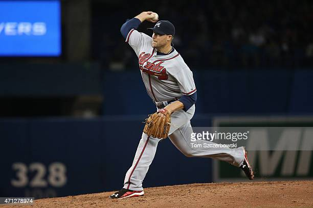 Jim Johnson of the Atlanta Braves delivers a pitch in the eighth inning during MLB game action against the Toronto Blue Jays on April 18 2015 at...