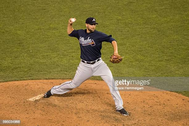 Jim Johnson of the Atlanta Braves pitches against the Minnesota Twins on July 26 2016 at Target Field in Minneapolis Minnesota The Braves defeated...