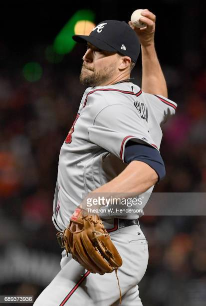 Jim Johnson of the Atlanta Braves pitches against the San Francisco Giants in the bottom of the ninth inning at ATT Park on May 26 2017 in San...