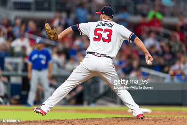 Jim Johnson of the Atlanta Braves pitches against the Toronto Blue Jays at SunTrust Park on May 17 2017 in Atlanta Georgia The Braves won 84