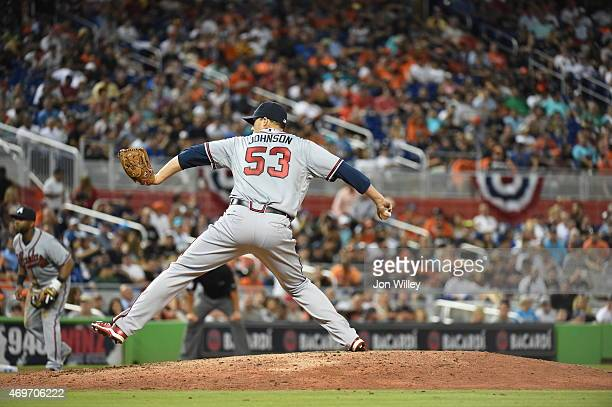 Jim Johnson of the Atlanta Braves pitches during the game against the Miami Marlins at Marlins Park on Monday April 6 2015 in Miami Florida