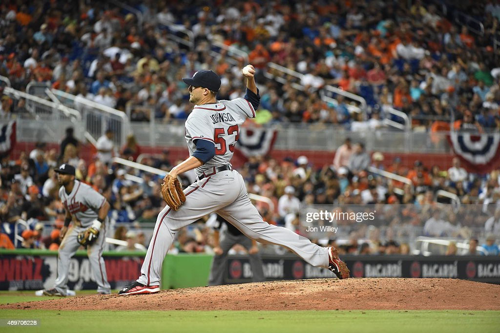 Jim Johnson #53 of the Atlanta Braves pitches during the game against the Miami Marlins at Marlins Park on Monday, April 6, 2015 in Miami Florida.