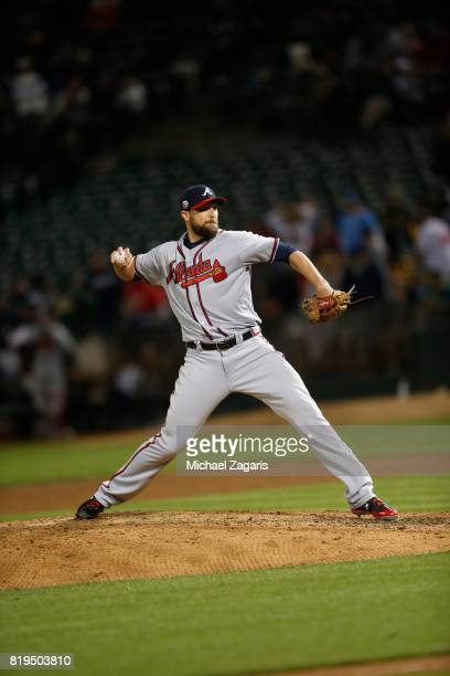 Jim Johnson of the Atlanta Braves pitches during the game against the Oakland Athletics at the Oakland Alameda Coliseum on June 30 2017 in Oakland...