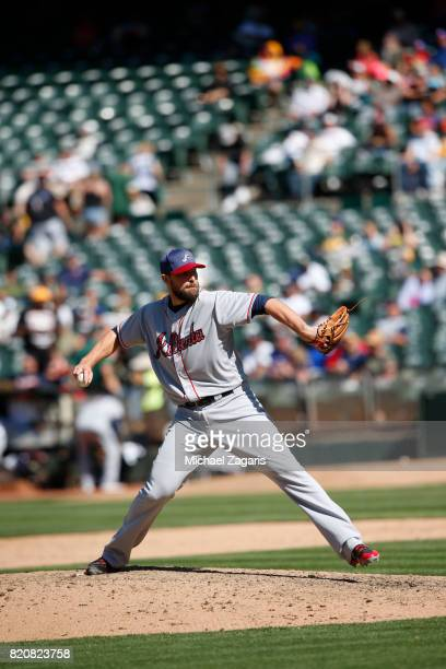 Jim Johnson of the Atlanta Braves pitches during the game against the Oakland Athletics at the Oakland Alameda Coliseum on July 2 2017 in Oakland...