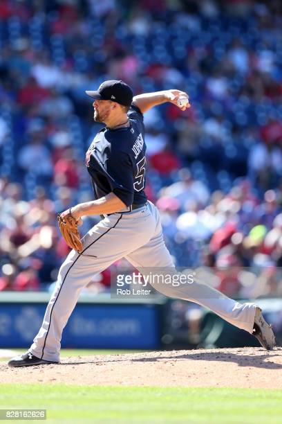 Jim Johnson of the Atlanta Braves pitches during the game against the Philadelphia Phillies at Citizens Bank Park on July 30 2017 in Philadelphia PA...