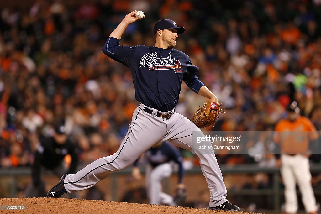 Jim Johnson #53 of the Atlanta Braves pitches in the eigth inning against the San Francisco Giants at AT&T Park on May 29, 2015 in San Francisco, California.