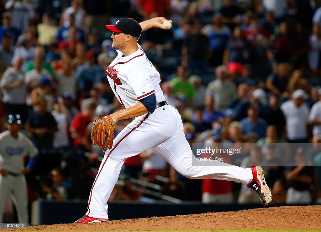 Jim Johnson #53 of the Atlanta Braves pitches in the ninth inning against the Los Angeles Dodgers at Turner Field on July 21, 2015 in Atlanta, Georgia.