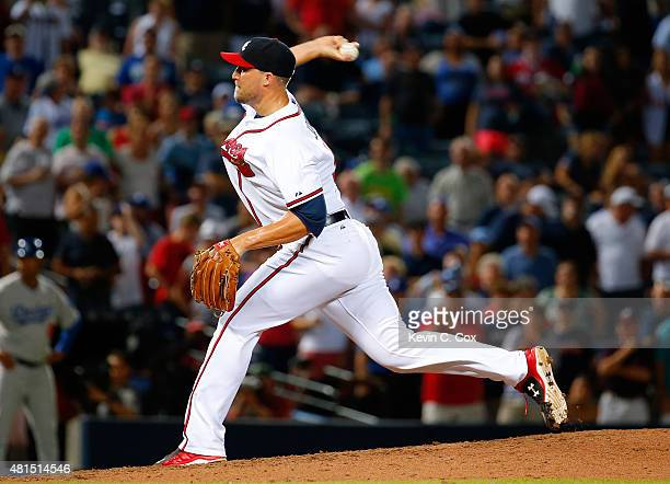 Jim Johnson of the Atlanta Braves pitches in the ninth inning against the Los Angeles Dodgers at Turner Field on July 21 2015 in Atlanta Georgia