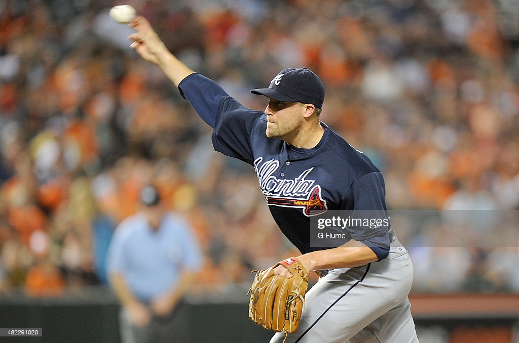 Jim Johnson #53 of the Atlanta Braves pitches in the ninth inning against the Baltimore Orioles at Oriole Park at Camden Yards on July 27, 2015 in Baltimore, Maryland.