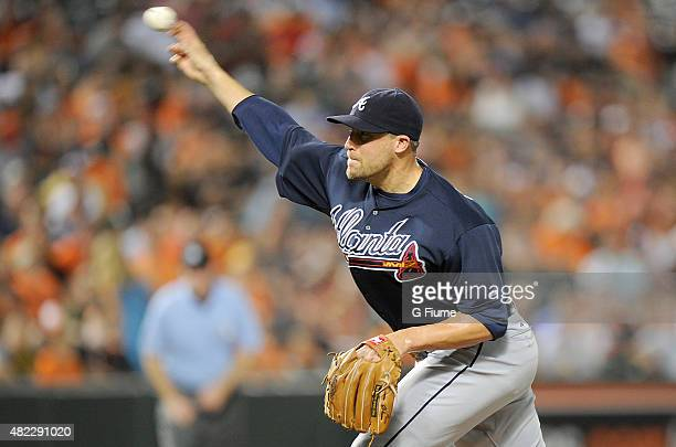 Jim Johnson of the Atlanta Braves pitches in the ninth inning against the Baltimore Orioles at Oriole Park at Camden Yards on July 27 2015 in...