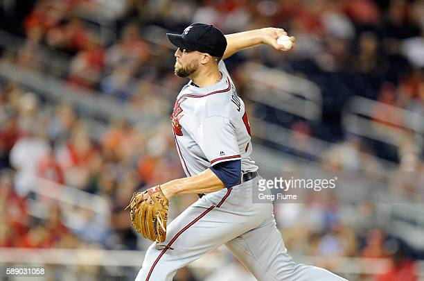 Jim Johnson of the Atlanta Braves pitches in the ninth inning against the Washington Nationals at Nationals Park on August 12 2016 in Washington DC...