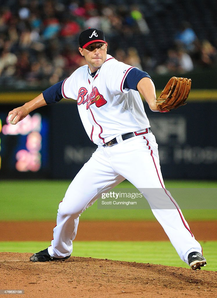 Jim Johnson #53 of the Atlanta Braves throws a ninth inning pitch against the San Diego Padres at Turner Field on June 10, 2015 in Atlanta, Georgia.