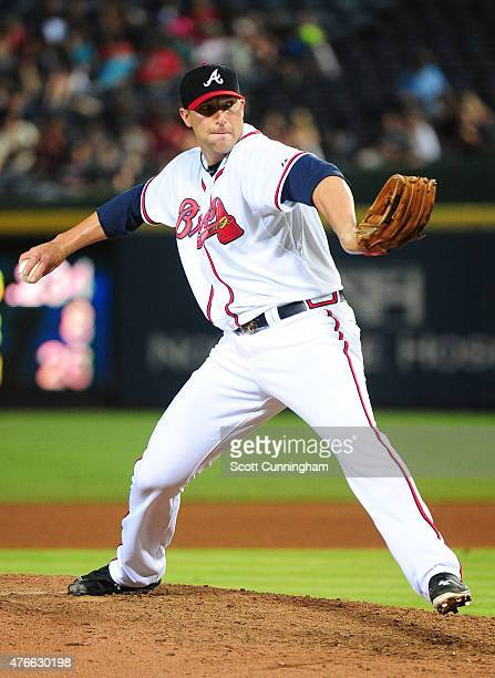 Jim Johnson of the Atlanta Braves throws a ninth inning pitch against the San Diego Padres at Turner Field on June 10 2015 in Atlanta Georgia