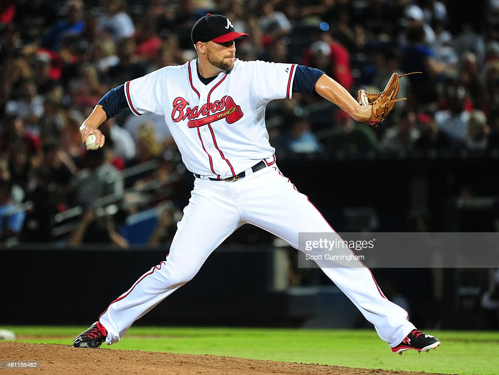 Jim Johnson #53 of the Atlanta Braves throws a ninth inning pitch against the Chicago Cubs at Turner Field on July 17, 2015 in Atlanta, Georgia.