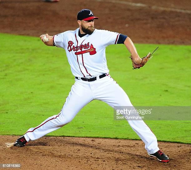 Jim Johnson of the Atlanta Braves throws a ninth inning pitch against the Philadelphia Phillies at Turner Field on September 27 2016 in Atlanta...