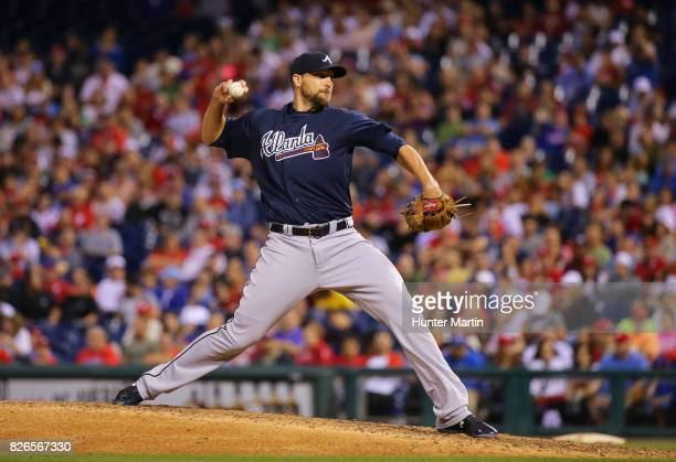 Jim Johnson of the Atlanta Braves throws a pitch during a game against the Philadelphia Phillies at Citizens Bank Park on July 29 2017 in...
