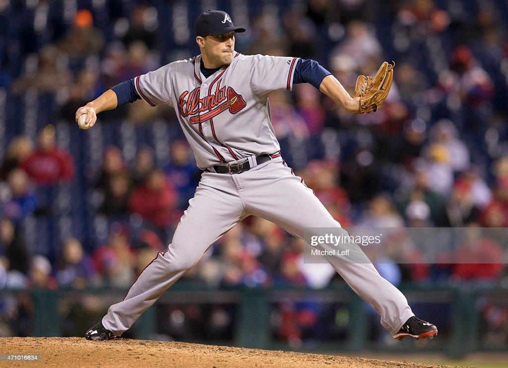 Jim Johnson #53 of the Atlanta Braves throws a pitch in the bottom of the ninth inning against the Philadelphia Phillies on April 24, 2015 at Citizens Bank Park in Philadelphia, Pennsylvania. The Phillies defeated the Braves 1-0.