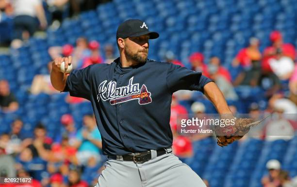 Jim Johnson of the Atlanta Braves throws a pitch in the eighth inning during a game against the Philadelphia Phillies at Citizens Bank Park on July...